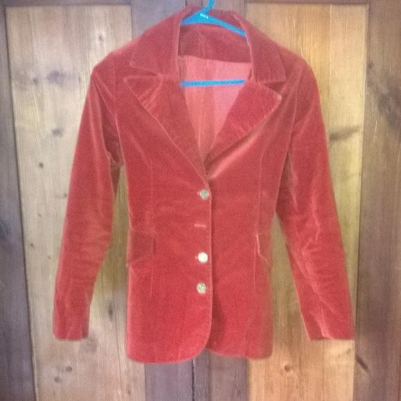 Jackets & Blazers - Vintage Orange Rust Velveteen Coat
